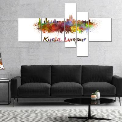 Designart Kuala Lumpur Skyline Multipanel Cityscape Canvas Artwork Print - 5 Panels