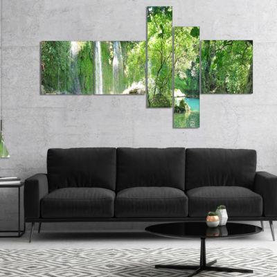 Designart Kursunlu Waterfalls Antalya Multipanel Landscape Photography Canvas Print - 4 Panels