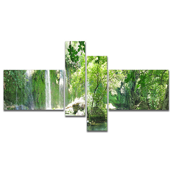 Designart Kursunlu Waterfalls Antalya MultipanelLandscape Photography Canvas Print - 4 Panels