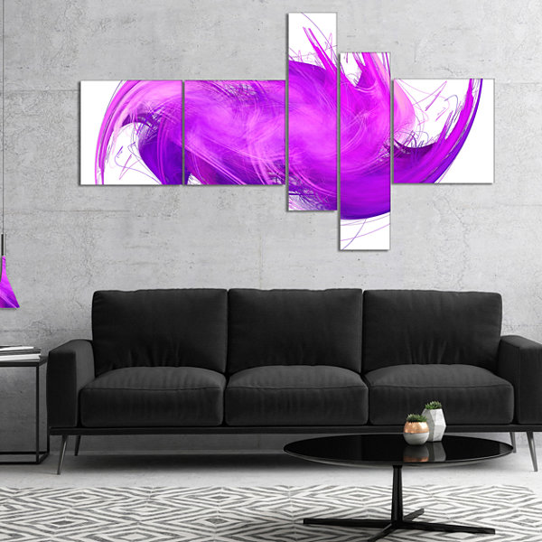 Designart Abstract Purple Fractal Pattern Multipanel Abstract Wall Art Canvas - 5 Panels