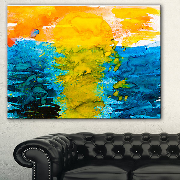 Designart Sea Texture In Yellow Blue Abstract Canvas Painting