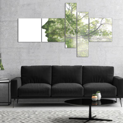 Designart Lady Combined With Green Tree MultipanelPortrait Canvas Art Print - 4 Panels