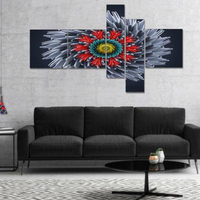 Designart Abstract Silver 3D Flower Multipanel Abstract Canvas Art Print - 4 Panels