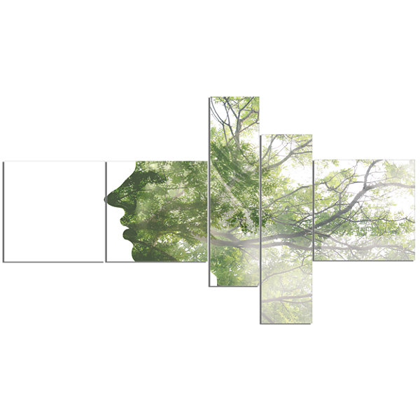 Designart Lady Combined With Green Tree MultipanelPortrait Canvas Art Print - 5 Panels