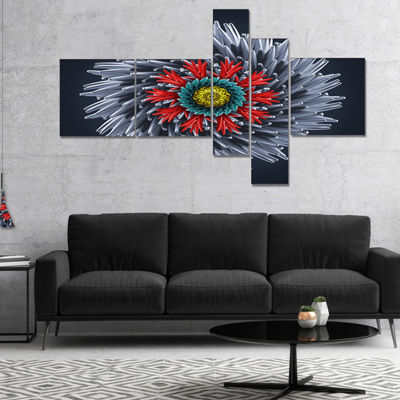 Designart Abstract Silver 3D Flower Multipanel Abstract Canvas Art Print - 5 Panels