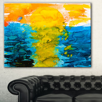 Designart Sea Texture In Yellow Blue Abstract Canvas Painting - 3 Panels