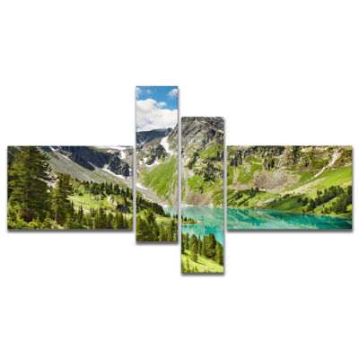 Design Art Lake On Green Valley Multipanel Photography Landscape Canvas Print - 4 Panels