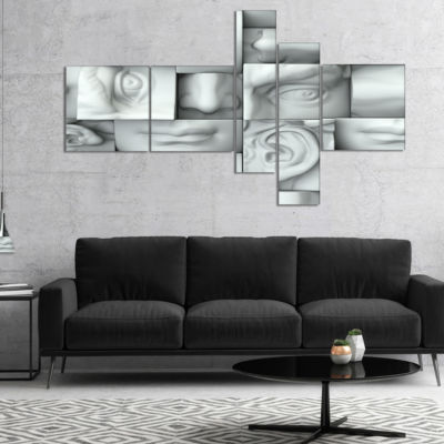 Designart Abstract White Blocks Multipanel Abstract Canvas Art Print - 4 Panels