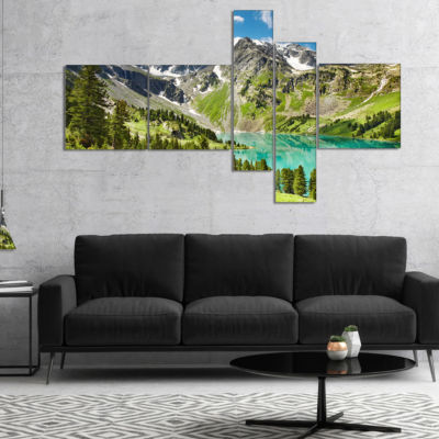 Designart Lake On Green Valley Multipanel Photography Landscape Canvas Print - 5 Panels