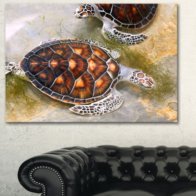 Designart Sea Turtles In Nursery Animal Canvas ArtPrint - 3 Panels