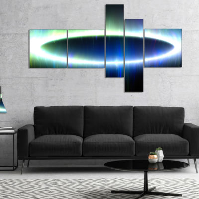 Designart Large Blue Oval Fractal Light MultipanelAbstract Canvas Art Print - 5 Panels
