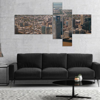 Designart Aerial View Of City From Helicopter Multipanel Large Cityscape Canvas Art Print - 4 Panels