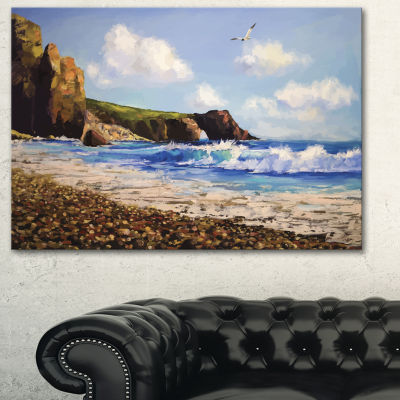 Designart Sea With Seagull Landscape Art Print Canvas - 3 Panels
