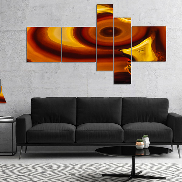 Designart Agate Geode Slice Macro Multipanel Abstract Canvas Wall Art Print - 5 Panels