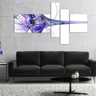 Designart Large Fractal Artwork Blue Multipanel Abstract Canvas Art Print - 4 Panels