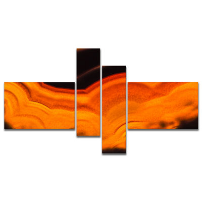 Designart Agate Macro Orange Multipanel AbstractCanvas Wall Art Print - 4 Panels