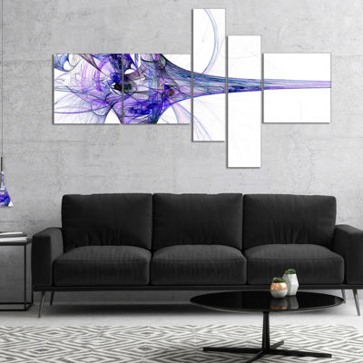 Designart Large Fractal Artwork Blue Multipanel Abstract Canvas Art Print - 5 Panels