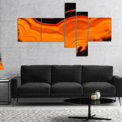 Designart Agate Macro Orange Multipanel AbstractCanvas Wall Art Print - 5 Panels