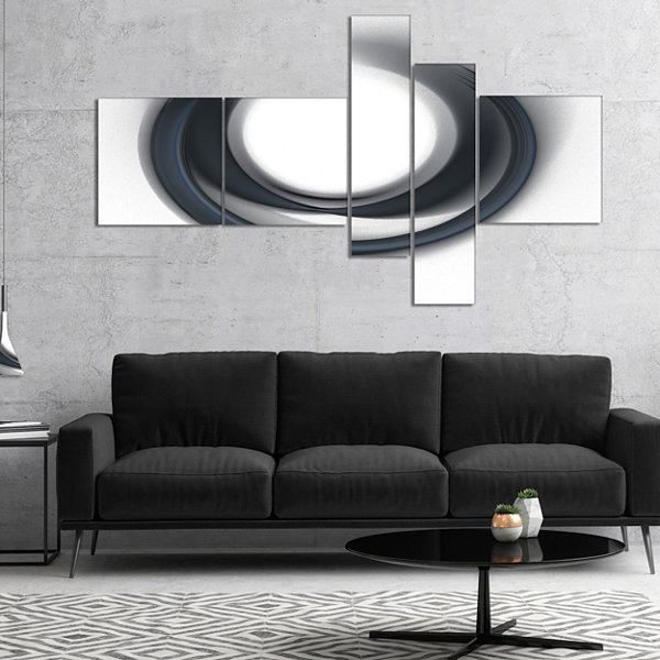Designart Large Fractal Black Circle On White Multipanel Abstract Wall Art Canvas - 4 Panels