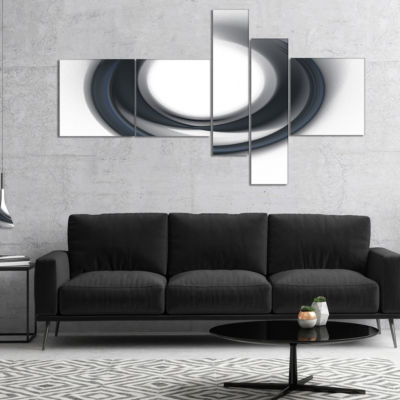 Designart Large Fractal Black Circle On White Multipanel Abstract Wall Art Canvas - 5 Panels