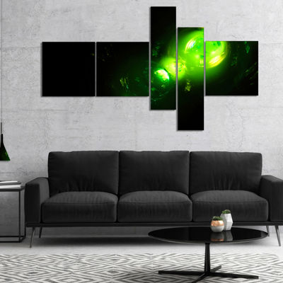 Designart Air Bubbles Under Water Multipanel Abstract Canvas Art Print - 5 Panels
