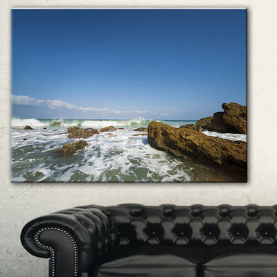 Designart Sea With White Waves Seascape Canvas ArtPrint - 3 Panels