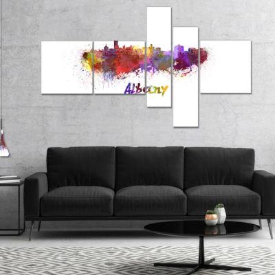 Designart Albany Skyline Multipanel Cityscape Canvas Artwork Print - 5 Panels