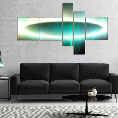 Designart Large Green Oval Fractal Light Multipanel Abstract Canvas Art Print - 5 Panels