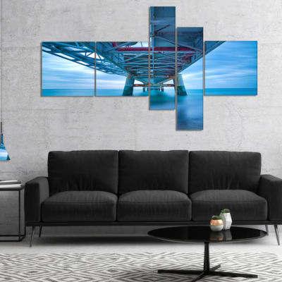Designart Large Industrial Pier Multipanel Seascape Canvas Art Print - 5 Panels