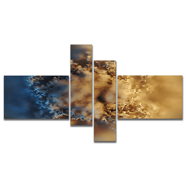 Designart Large Macro Prickly Texture Brown Multipanel Abstract Canvas Wall Art - 4 Panels
