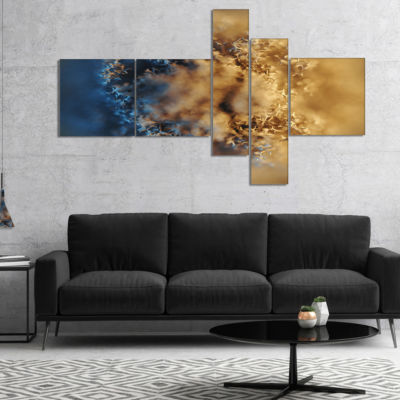 Designart Large Macro Prickly Texture Brown Multipanel Abstract Canvas Wall Art - 5 Panels
