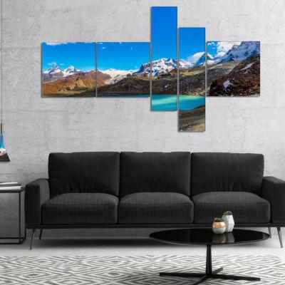Designart Alps Mountain Fountain Multipanel Photography Canvas Art Print - 4 Panels