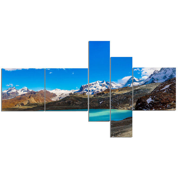 Designart Alps Mountain Fountain Multipanel Photography Canvas Art Print - 5 Panels