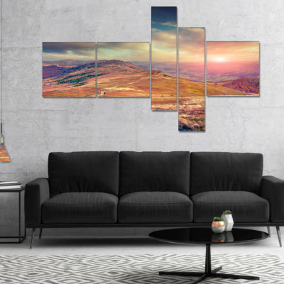 Designart Amazing Autumn Landscape In Hills Multipanel Large Landscape Canvas Art Print - 4 Panels