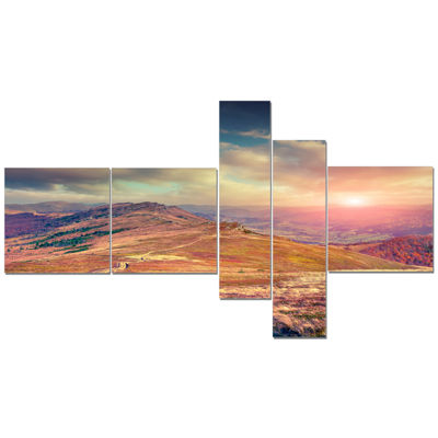 Designart Amazing Autumn Landscape In Hills Multipanel Large Landscape Canvas Art Print - 5 Panels