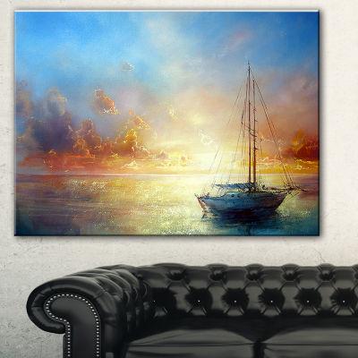 Designart Seascape Pier Seascape Canvas Art Print-3 Panels