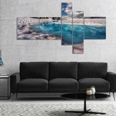 Designart Amazing Blue Melt Lake In Fog MultipanelLarge Landscape Canvas Art Print - 5 Panels