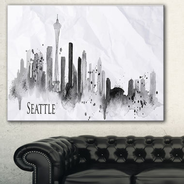 Designart Seattle Black Silhouette Cityscape Painting Canvas Print