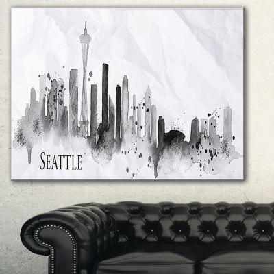 Designart Seattle Black Silhouette Cityscape Painting Canvas Print - 3 Panels