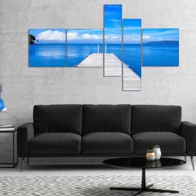 Designart Large Wooden Pier Multipanel Seascape Canvas Art Print - 5 Panels