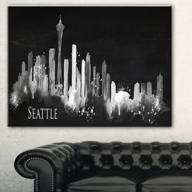Designart Seattle Dark Silhouette Cityscape Painting Canvas Print