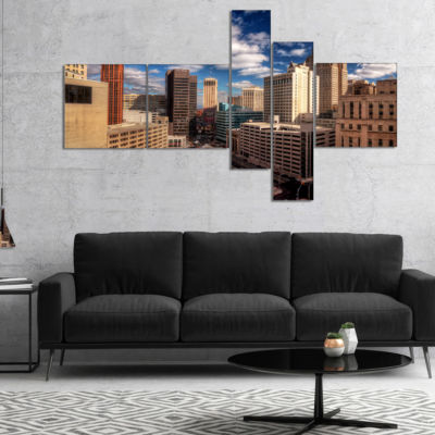 Designart Amazing Urban City With Skyline Multipanel Extra Large Canvas Art Print - 5 Panels