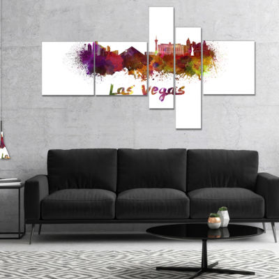 Designart Las Vegas Skyline Multipanel CityscapeCanvas Artwork Print - 5 Panels