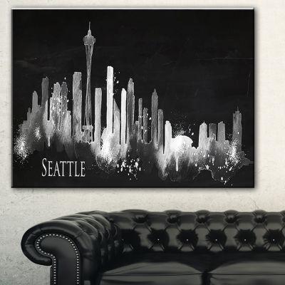 Designart Seattle Dark Silhouette Cityscape Painting Canvas Print - 3 Panels