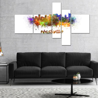 Designart Las Vegas Skyline Multipanel Purple Multipanel Cityscape Canvas Artwork Print - 5 Panels