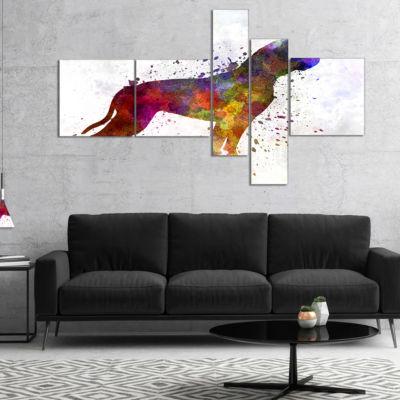 Designart American Bulldog Multipanel Animal ArtPainting - 5 Panels