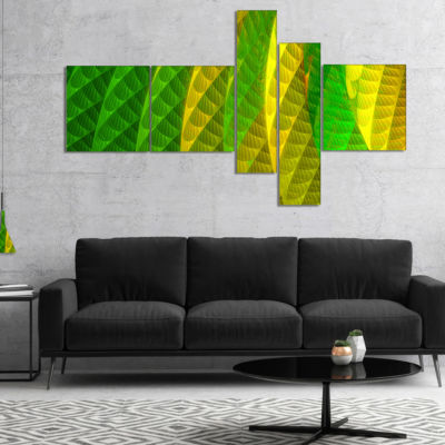 Designart Layered Green Psychedelic Design Multipanel Abstract Canvas Art Print - 5 Panels