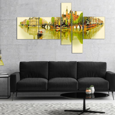 Designart Amsterdam Panoramic View Multipanel Cityscape Watercolor Canvas Print - 5 Panels