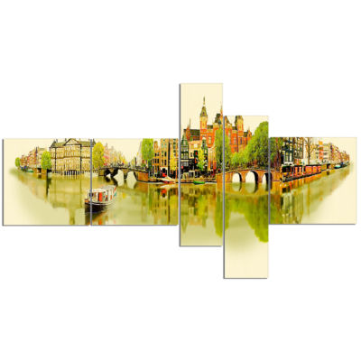 Design Art Amsterdam Panoramic View Multipanel Cityscape Watercolor Canvas Print - 5 Panels