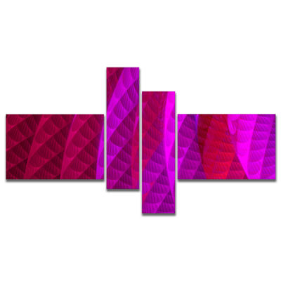 Designart Layered Pink Psychedelic Design Multipanel Abstract Canvas Art Print - 4 Panels